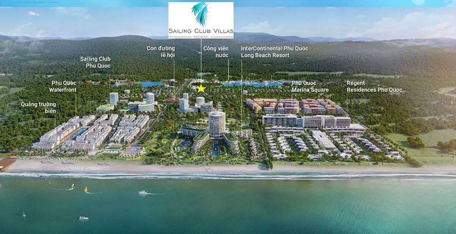 Vị trí dự án và Sailing Club Villas Phu Quoc tại khu phức hợp thương mại Phu Quoc Marina