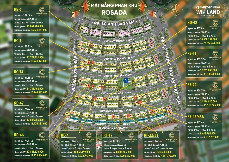 Bảng giá Meyhomes khu Rosada tháng 4.2021