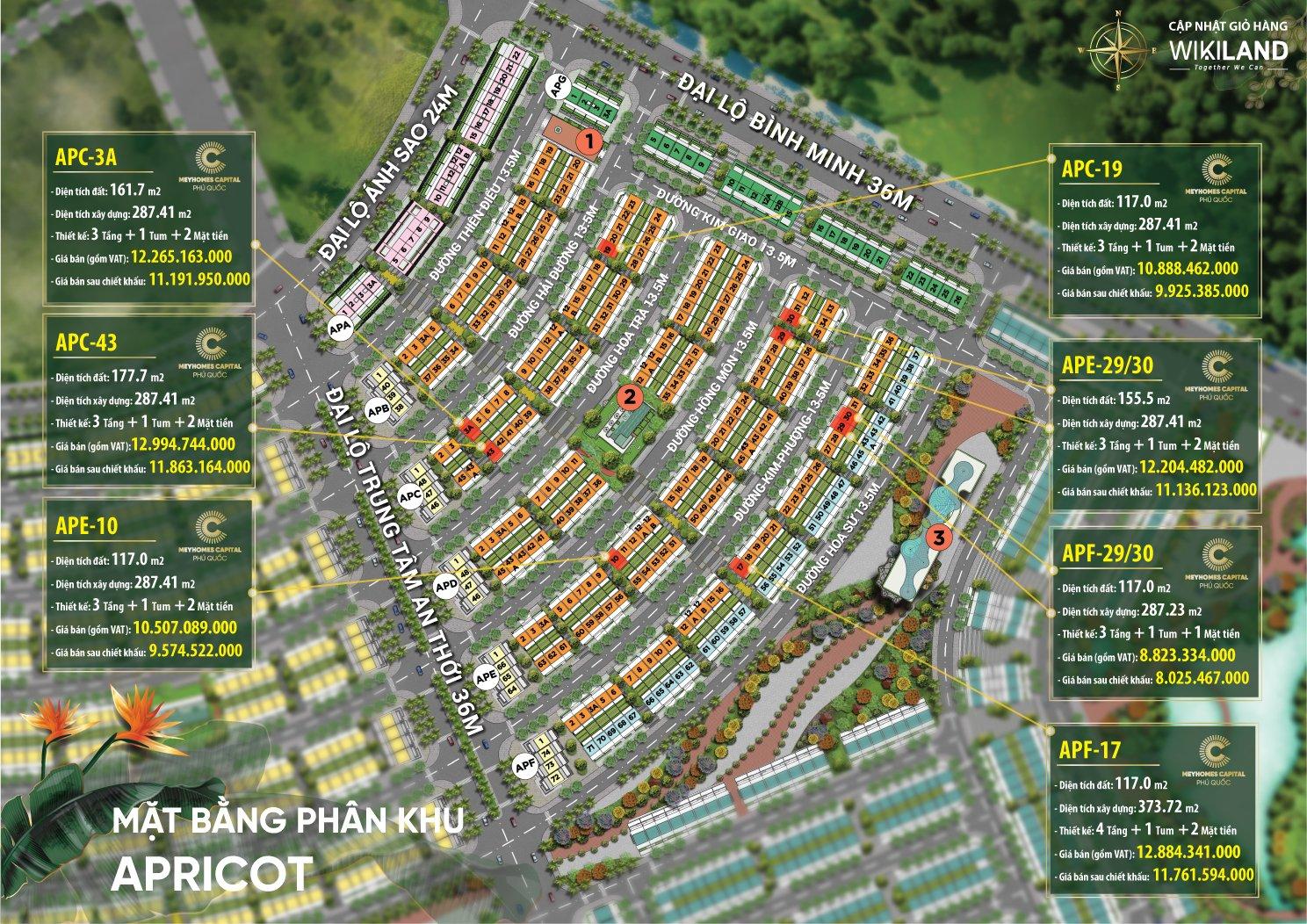Bảng giá Meyhomes khu Apricot tháng 4.2021