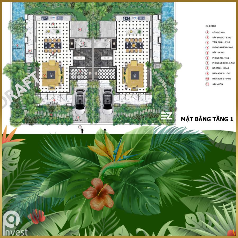 Biệt thự mẫu song lập B Sun Tropical Village Phú Quốc